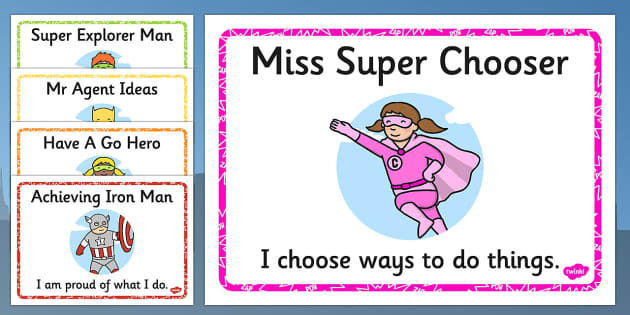 Superhero Themed Characteristics Effective Learn Display Posters