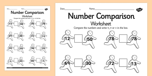 The Gingerbread Man Number Comparison Worksheet - gingerbread man