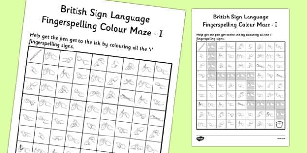 British Sign Language Left Handed Fingerspelling Colour Maze I