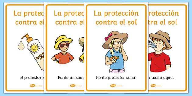 Sun Safety Posters Spanish - spanish, Sun safety, Sun, Summer, sunburn, Display Words, display, summer, fun in the Sun, Sun danger, sun hat , sunglasses