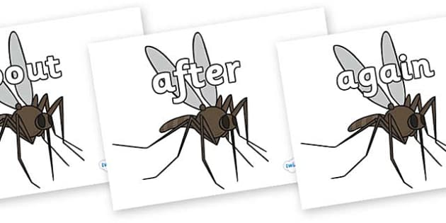 KS1 Keywords on Mosquitos - KS1, CLL, Communication language and literacy, Display, Key words, high frequency words, foundation stage literacy, DfES Letters and Sounds, Letters and Sounds, spelling