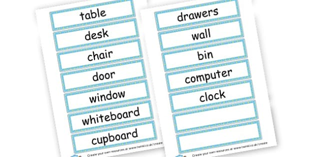 Classroom objects, labels