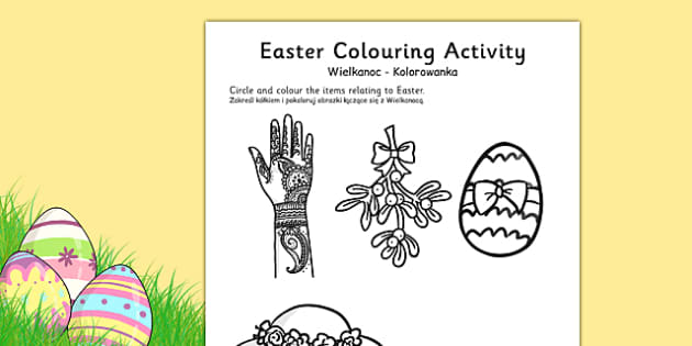 Easter Colouring Activity Sheet Polish Translation - polish, easter, colour, RE, religion, worksheet