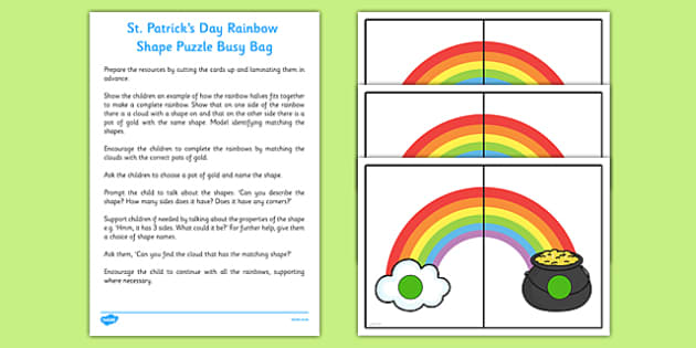 Rainbow Shape Puzzle Busy Bag Resource Pack for Parents - St Patricks Day
