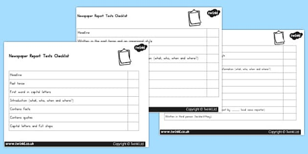 Differentiated Generic Newspaper Report Writing Checklists - australia