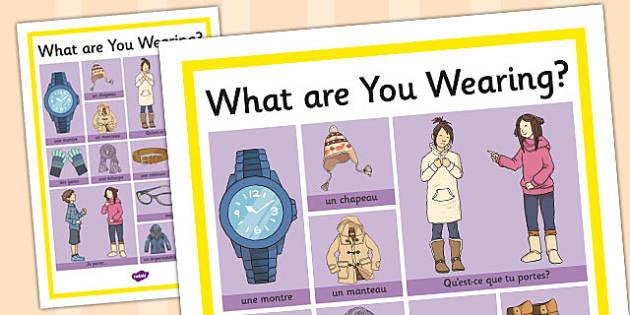 French Clothes 2 Word Grid - french, clothes, word grid, words