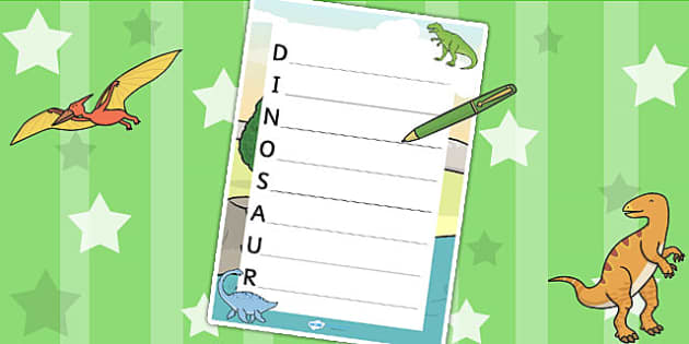 Dinosaur Acrostic Poem Template - dinosaurs, poem, poetry, rhyme