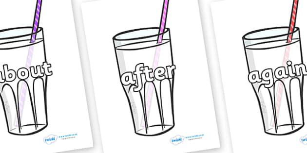 KS1 Keywords on Milkshakes - KS1, CLL, Communication language and literacy, Display, Key words, high frequency words, foundation stage literacy, DfES Letters and Sounds, Letters and Sounds, spelling