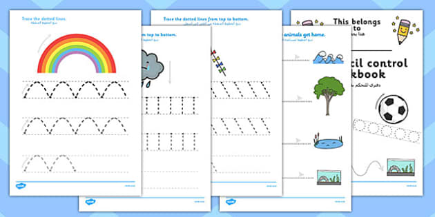 Line Handwriting Worksheets Arabic Translation - arabic, line, handwriting