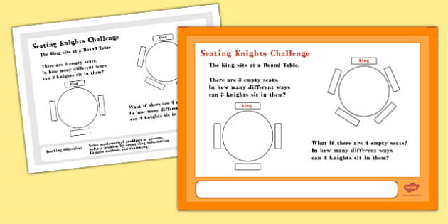 A4 Seating Knights Maths Challenge Poster - challenge, poster