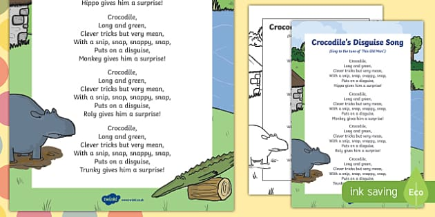 Crocodile's Disguise Song to Support Teaching on The Enormous Crocodile