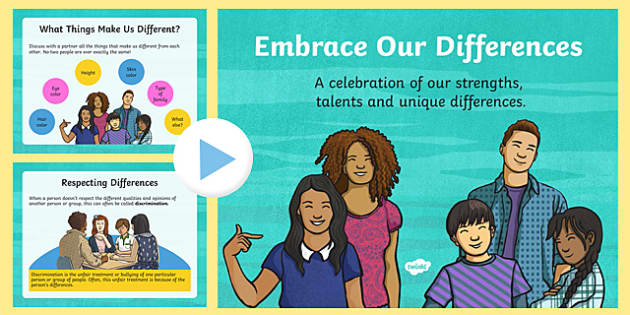 Embrace Our Differences Powerpoint - bullying, racism, racist, xenophobia, LGBTQ, PSHCE, differences, similarities, respect, diversity