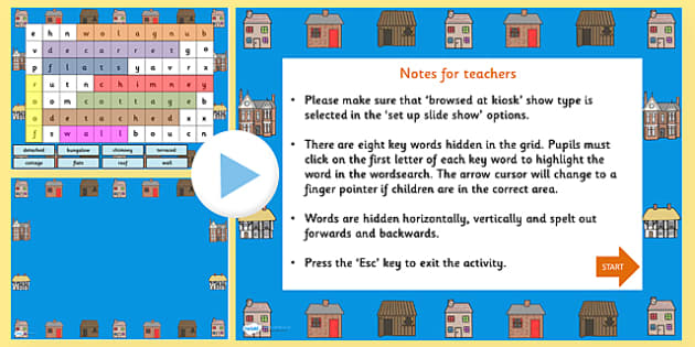 Houses and Homes Interactive Wordsearch PowerPoint-houses and homes, interactive, powerpoint, interactive powerpoint, house and home powerpoint, wordsearch