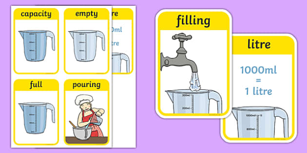 CfE Early Level Numeracy and Mathematics Measurement (Capacity and Volume) Keyword Flashcards-Scottish