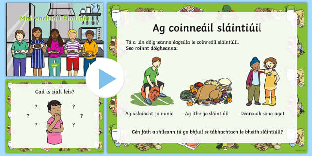 Healthy Eating and Living PowerPoint Gaeilge - Food, healthy eating, healthy living, bia, sláintiúil, míshláintiúil, ag ithe sláintiúil,Iris
