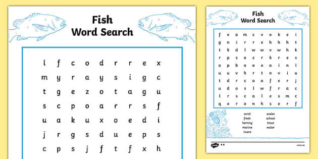 Australian Animals Years 3-6 Fish Differentiated Word Search - australian, Australian Curriculum, animals, fish, activity, wordsearch