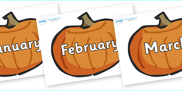 Months of the Year on Pumpkins - Months of the Year, Months poster, Months display, display, poster, frieze, Months, month, January, February, March, April, May, June, July, August, September
