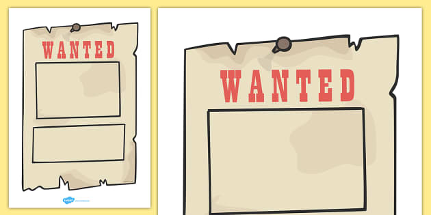 Wanted Poster Templates Cowboy wanted poster template – Template for a Wanted Poster