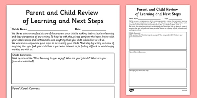 Parent and Child Review of Learning and Next Steps Tracking Template - EYFS assessment, Early years assessment