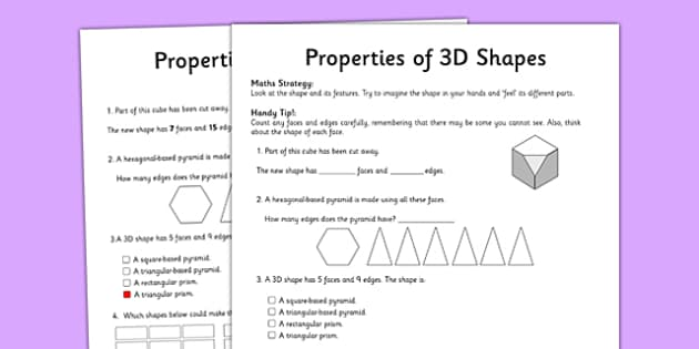 Year 5 Properties of Shapes Activity Sheet - worksheet, test skills, NAPLAN, edges, faces, visualisation, spatial awareness, problem solving, reasoning, three dimensional, 3D
