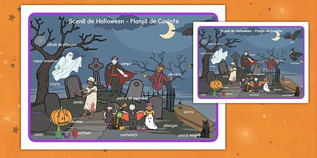 Scenă de Halloween - Planșă cu imagini și cuvinte - Halloween, planșă, imagini, cuvinte, scenă, vocabular, dezvoltarea limbajului, comunicare, toamnă, romanian, materiale, materiale didactice, română, romana, material, material didactic