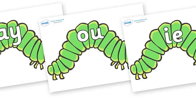 Phase 5 Phonemes on Hungry Caterpillars to Support Teaching on The Very Hungry Caterpillar - Phonemes, phoneme, Phase 5, Phase five, Foundation, Literacy, Letters and Sounds, DfES, display