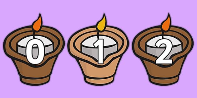 Numbers 0-30 on Diva Lamps - numbers, 0-30, diva lamps, diva, lamps, diwali