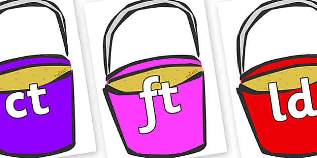 Final Letter Blends on Buckets - Final Letters, final letter, letter blend, letter blends, consonant, consonants, digraph, trigraph, literacy, alphabet, letters, foundation stage literacy