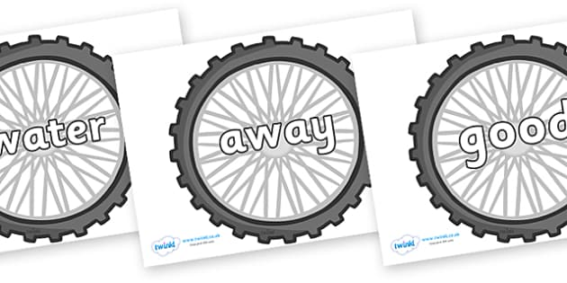 Next 200 Common Words on Bike Wheels - Next 200 Common Words on  - DfES Letters and Sounds, Letters and Sounds, Letters and sounds words, Common words, 200 common words