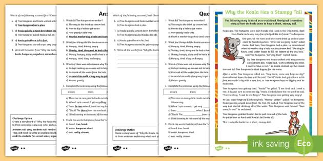 Why The Koala Has A Stumpy Tail Differentiated Reading Comprehension Activity - Australian Aboriginal Dreamtime Stories,Australia