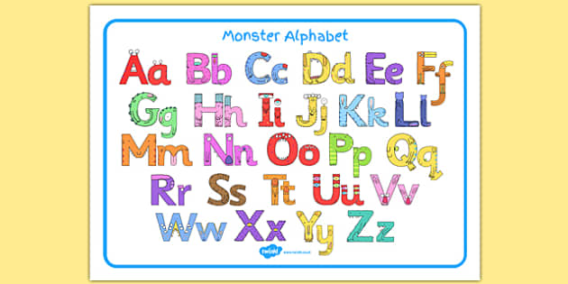 Monster Alphabet Image Mat - monster alphabet, monster, alphabet, images mat
