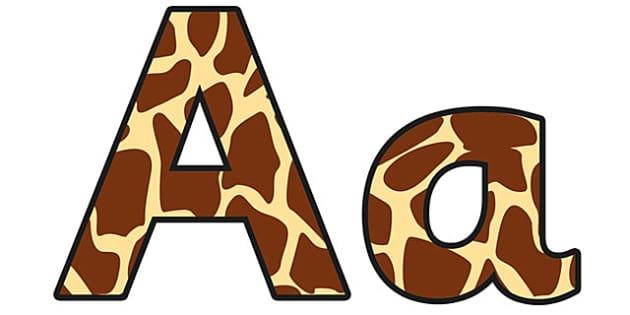 Giraffe Pattern Display Lettering - safari, safari lettering, safari display lettering, giraffe lettering, giraffe pattern lettering, elephant pattern