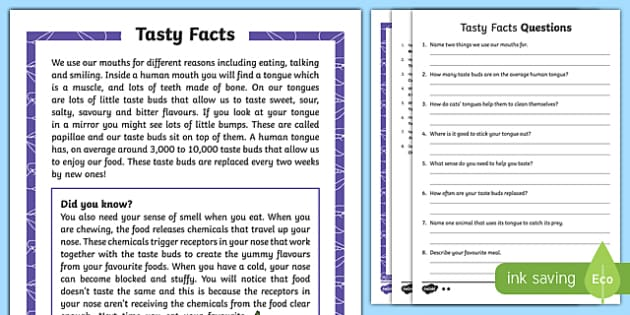 Sense of Taste Differentiated Reading Comprehension Activity