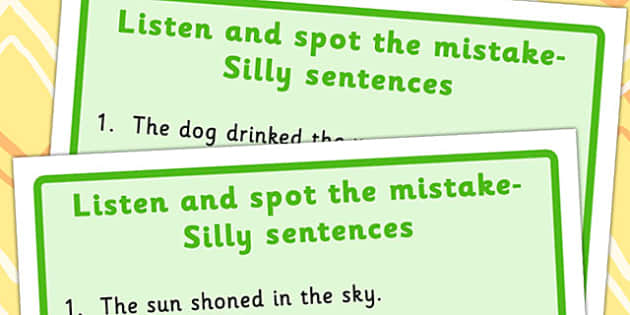 Listen and Spot The Mistake 2 - mistakes, visual, sentences