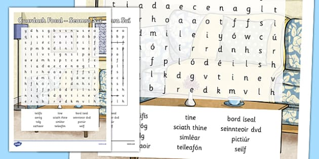 Irish Gaeilge Seomra Suí Word Search - sa braille, home, house, word search, activity, sheets, spellings