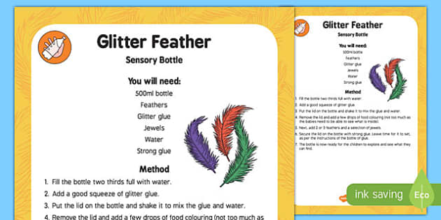 Glitter Feather Sensory Bottle