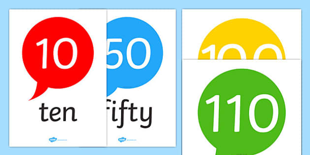Number and Word Posters (10-120 in tens) - Number posters, 10-120, Number names, Number words, Numerals, Foundation Numeracy, Number recognition, Number flashcards