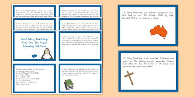 Saint Mary MacKillop Fact Cards-Australia