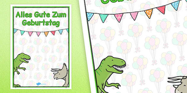 German Happy Birthday Posters Dinosaur Themed - german, posters
