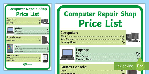 Computer Repair Shop Price List - computer repair shop, price list, role play, role play price list, price list for computers, computer shop price list