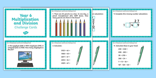 Year 6 Multiplication and Division Challenge Cards