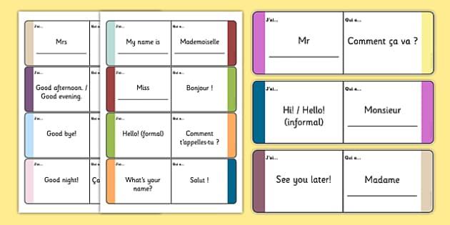French Meet and Greet Loop Cards - french, meet, greet, loop