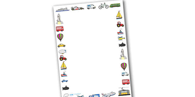 Transport Page Borders (Images) - Transport, page border, a4 border, template, writing aid, writing border, page template, car, van, lorry, bike, motorbike, plane, aeroplane, tractor, truck, bus