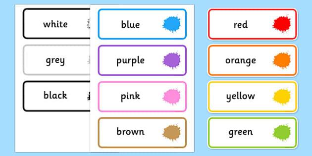 Colour Word Cards - colour, word, cards, colours, red, yellow