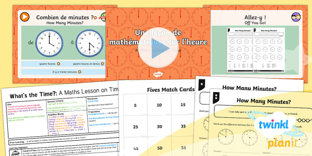 PlanIt - Year 4 French - What's the Time? Lesson 6: A Maths Lesson on Time Lesson Pack - french, languages, time, mathematics,French, clock, fives, counting, calculate, worksheet, activity.