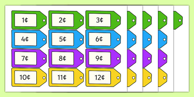 An t-Ollmhargadh The Supermarket Role Play Price Tag Labels-Irish
