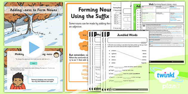 PlanIt Y2 SPaG Lesson Pack: Forming Nouns using -ness - GPS, spelling, grammar, nouns, verbs, suffixes, ness