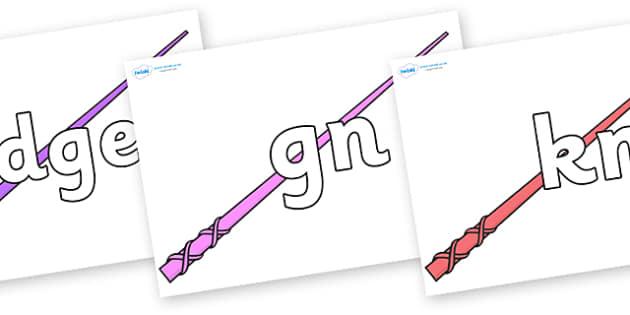 Silent Letters on Wands - Silent Letters, silent letter, letter blend, consonant, consonants, digraph, trigraph, A-Z letters, literacy, alphabet, letters, alternative sounds