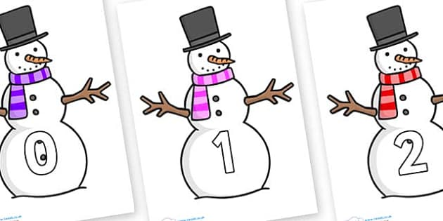 Numbers 0-100 on Snowman - 0-100, foundation stage numeracy, Number recognition, Number flashcards, counting, number frieze, Display numbers, number posters