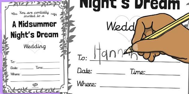 A Midsummer Night's Dream Wedding Invitation Template - wedding